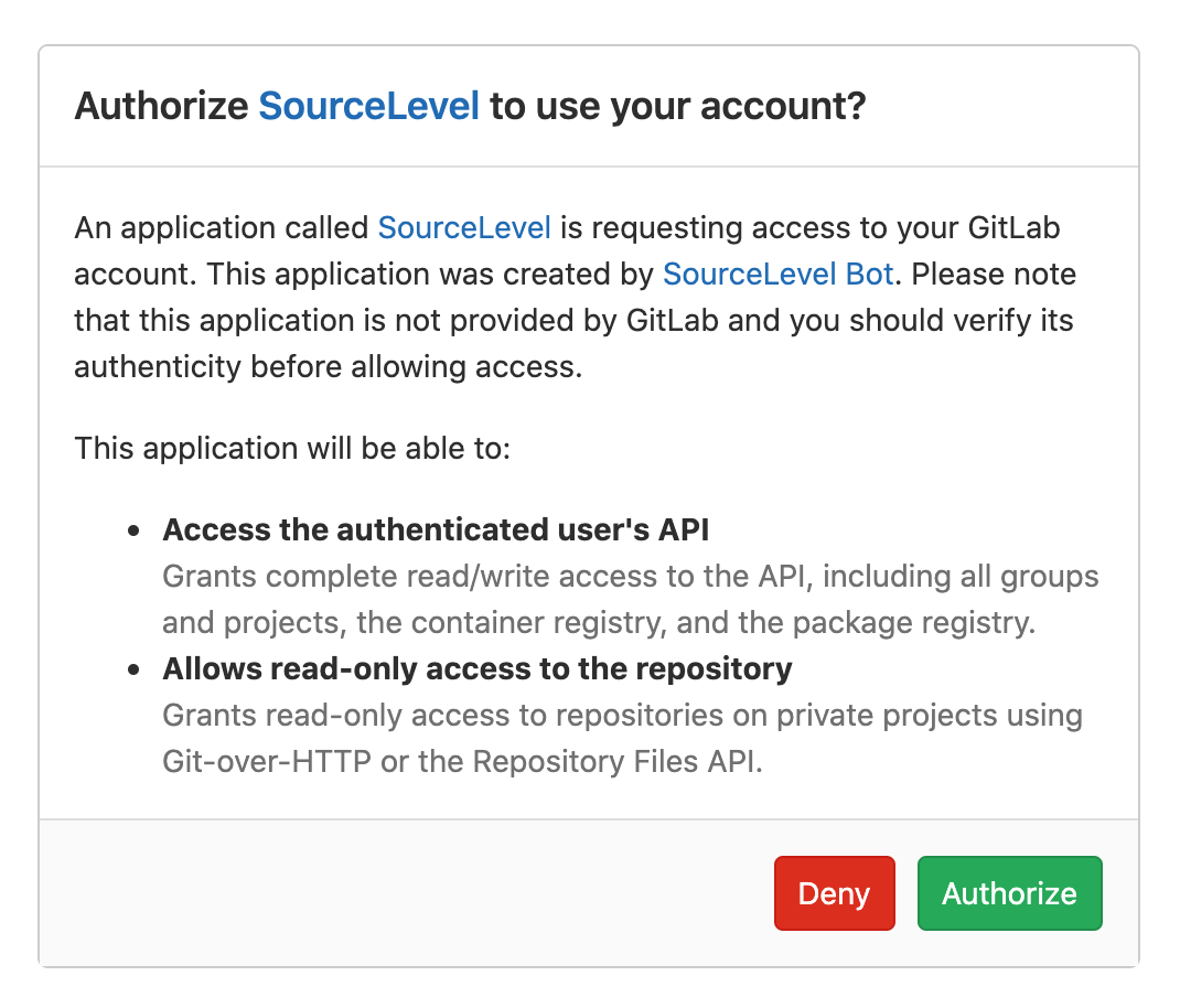 Authorize SourceLevel in GitLab