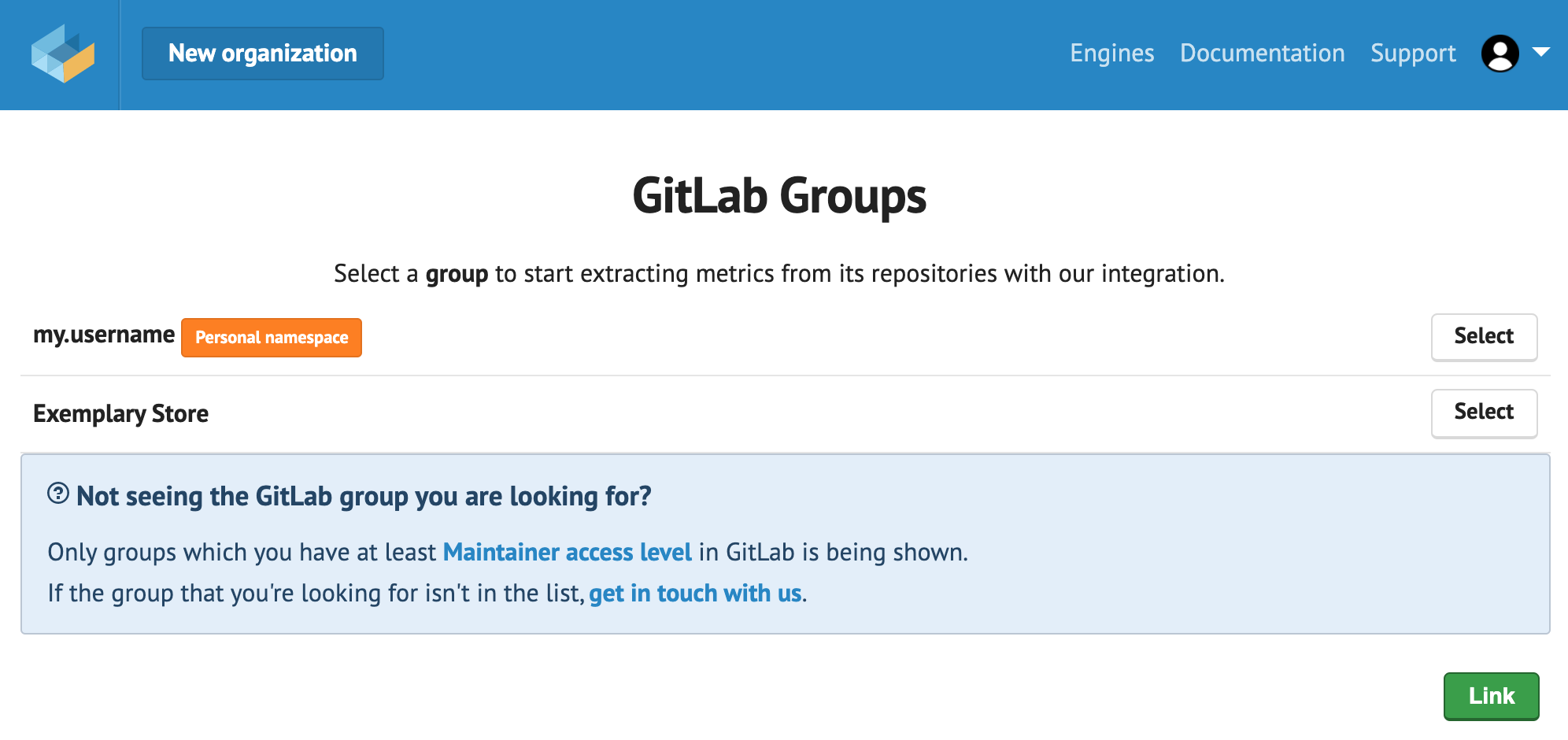 Select the GitLab group