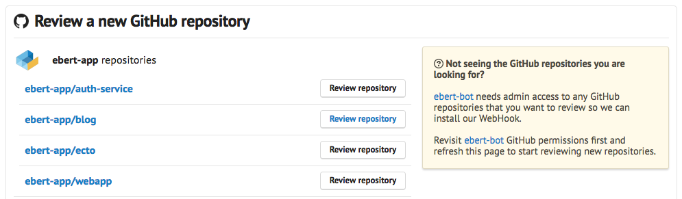 "Select the repository you want to add and click on ""Review repository"""